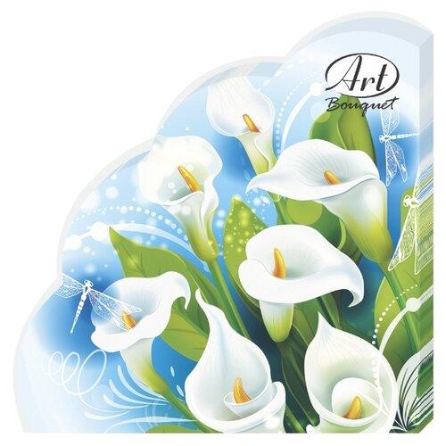 """Купить Салфетки бумажные РОНДО Art Bouquet """"Белые лилии"""" 1 упаковка по 12 штук, диаметр 32 сантиметра, 3-х слойные."""