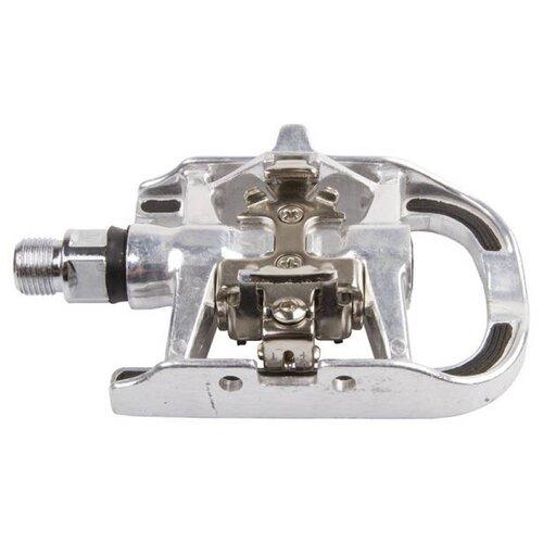 Педали 5-312061 (5-311806) алюминиевые комбинированные (шипы+платформа) Сr-Mo ось SHIMANO-совместимые, антискользящие накладки, серебристые M-WAVE