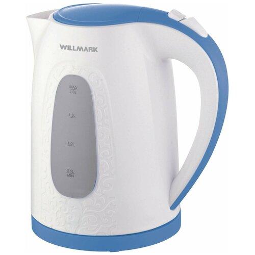 Чайник Willmark WEK-2009P, белый/синий чайник willmark wek 2009p белый фиолетовый