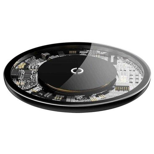 Фото - Беспроводная сетевая зарядка Baseus Simple Wireless Charger, прозрачный беспроводная сетевая зарядка baseus whirlwind desktop wireless charger черный
