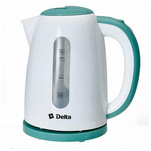 Delta Чайник Delta DL-1106 белый с мятным : 2200 Вт, 1,7 л