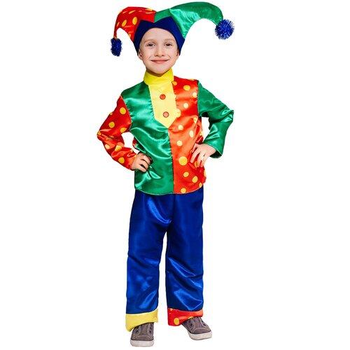 Костюм пуговка Скоморох Гороховый (1051 к-19), зеленый/красный/синий, размер 110, Карнавальные костюмы  - купить со скидкой