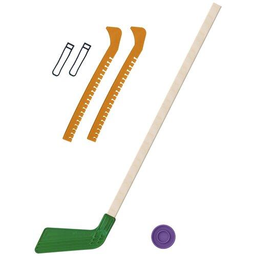 Набор зимний: Клюшка хоккейная зелёная 80 см.+шайба + Чехлы для коньков желтые, Задира-плюс