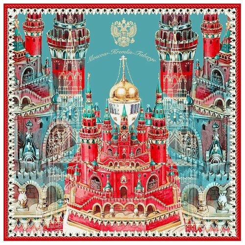 Платок Русские в моде by Nina Ruchkina Кремль - Москва - Фаберже 100% шёлк красный
