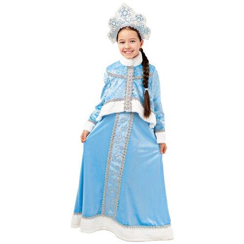 Купить Костюм пуговка Снегурочка Танюшка (3006 к-18), голубой/белый/серебристый, размер 140, Карнавальные костюмы