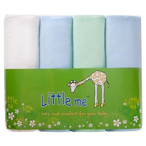 Многоразовые пеленки Little Me фланель 75х120 набор 4 шт. голубой/зеленый/белый 4 шт.