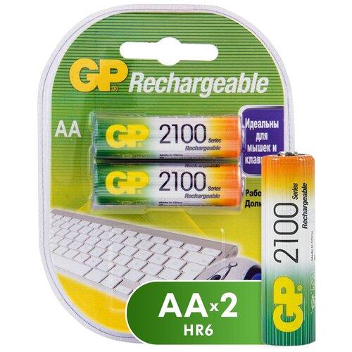 Фото - Аккумулятор Ni-Mh 2100 мА·ч GP Rechargeable 2100 Series AA, 2 шт. аккумулятор ni mh 950 ма·ч gp rechargeable 1000 series aaa 6 шт