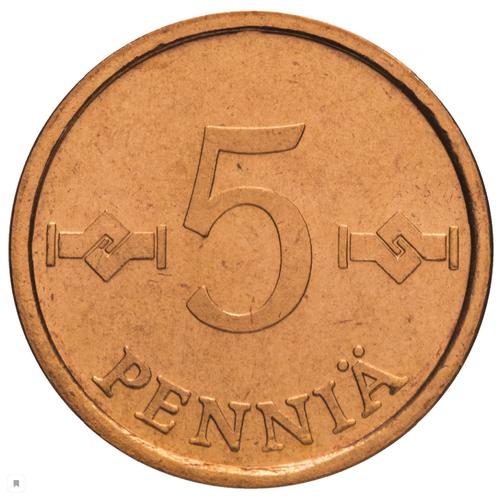 Монета Банк Финляндии 5 пенни 1974 год