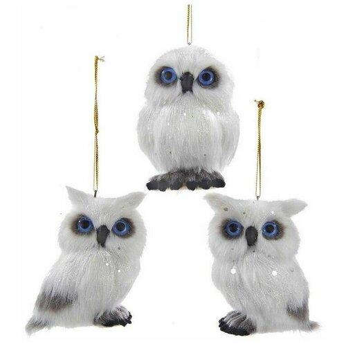 Фото - Ёлочная игрушка совушка-синеглазка, искусственный мех, 7 см, разные модели, Kurts Adler ёлочная игрушка кошечка делфтский фарфор 10 см разные модели kurts adler j0936