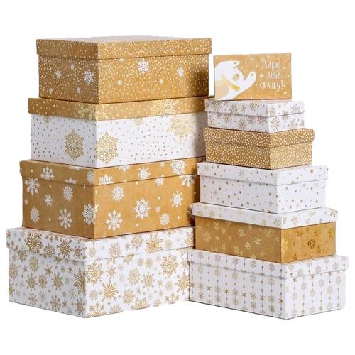 Фото - Набор подарочных коробок Дарите счастье Снежинки, 10 шт. бежевый/белый набор подарочных коробок дарите счастье универсальный 10 шт бежевый белый черный