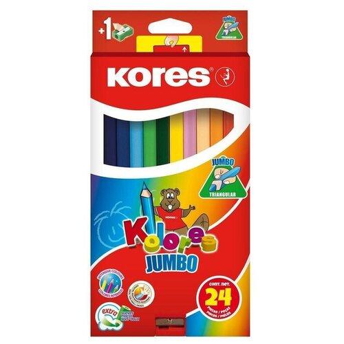 Карандаши цветные 24 цвета Kores Kolores Jumbo (L=175мм, 3гр) с точилкой