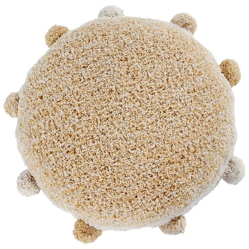 Круглая интерьерная подушка с помпонами медовая 48*48