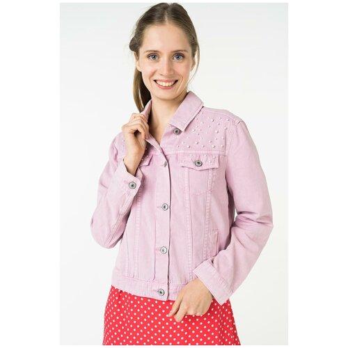 Розовая джинсовая куртка с с отделкой искусственным жемчугом 8224444644097 Розовый 44