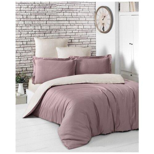 Комплект постельного белья евро (двухстороннее) LOFT (грязно-розовый-бежевый) комплект постельного белья karna евро сатин однотонный loft екрю 2986 char003