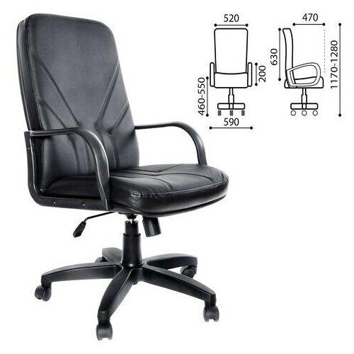 Кресло компьютерное OLSS менеджер, черный экокожа