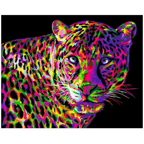 набор для рисования по номерам цветной элегантность в белом марка спейна 40 x 50 см H141 Набор для рисования по номерам 'Цветной леопард' 40*50см
