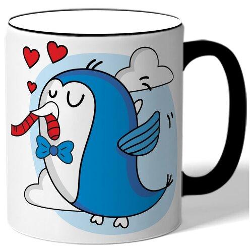 Кружка с цветной ручкой парная в подарок влюбленным - синяя птичка с бабочкой, сердца