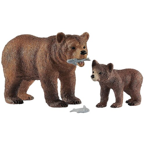Купить Фигурки Schleich Медведица гризли с медвежонком 42473, Игровые наборы и фигурки