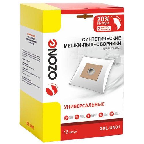 мешки пылесборники ozone xxl p05 бумажные 12 шт 2 микрофильтра для bosch siemens scarlett ufesa Синтетические мешки-пылесборники Ozone XXL-UN01 универсальные, для пылесоса, 12 шт + 2 микрофильтра