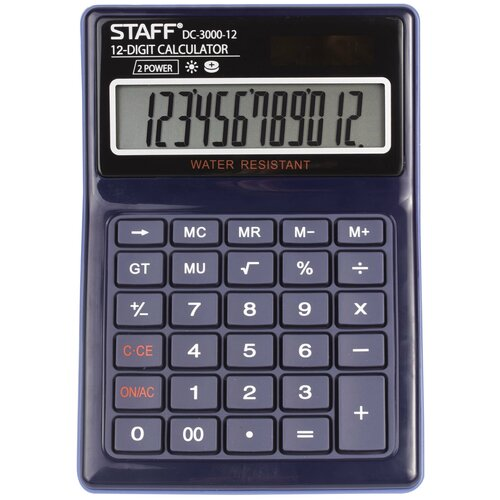 Калькулятор бухгалтерский STAFF DC-3000-12 синий