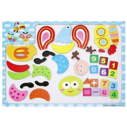 Junfa toys Мозаика магнитная Петух, бабочка, гусеница (С-001) junfa toys настольная магнитная игра 6 в 1 junfra