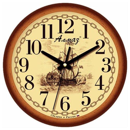 Фото - Часы настенные кварцевые Алмаз B24 коричневый/бежевый часы настенные кварцевые алмаз b97 коричневый бежевый