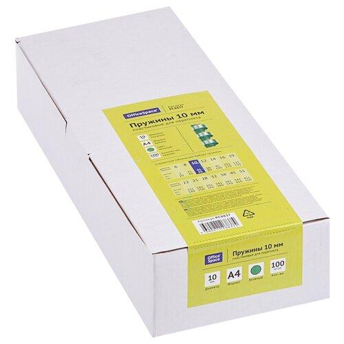 Фото - Пружина OfficeSpace пластиковые 10 мм зеленый 100 шт. пружина officespace пластиковые 6 мм красный 100 шт