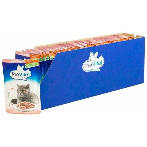Влажный корм для кошек PreVital с форелью 28 шт. х 85 г (кусочки в желе) влажный корм для кошек prevital с индейкой 28 шт х 85 г кусочки в желе