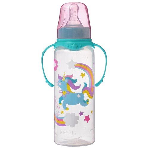 Купить Бутылочка для кормления Волшебная пони 250 мл., цилиндр, с руч., цвет бирюз. 2969836, Mum&Baby, Бутылочки и ниблеры