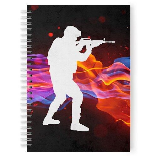 Купить Тетрадь 48 листов в клетку CS, Counter Strike, белый силуэт военного, Drabs, Тетради