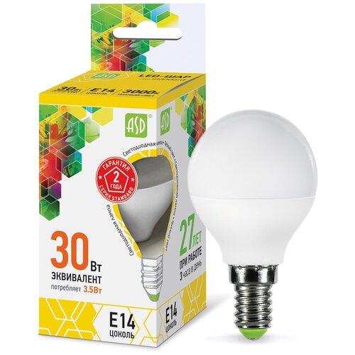 Лампа светодиодная ASD LED-ШАР-STD 3000K, E14, G45, 3.5Вт