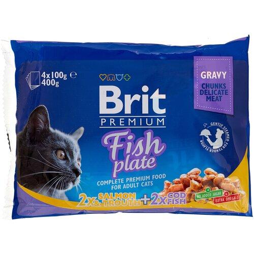 Фото - Влажный корм для кошек Brit Premium Fish Plate, беззерновой, с треской, с лососем, с форелью 2 уп. х 4 шт. х 100 г (кусочки в соусе) паучи brit premium cat cod fish с треской для кошек 100г 100307