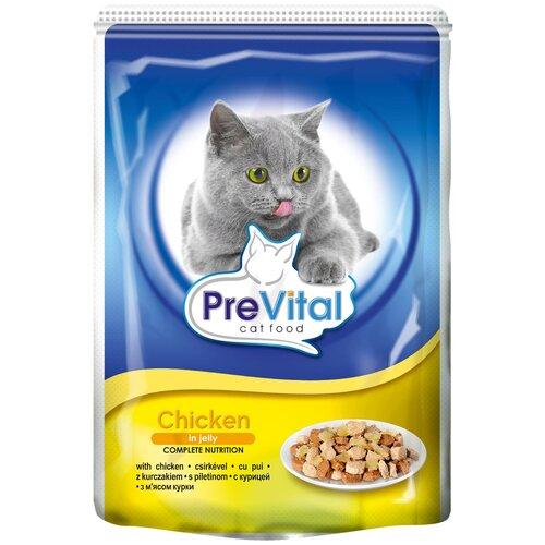 Влажный корм для кошек PreVital с курицей 2 шт. х 100 г (кусочки в желе) влажный корм для кошек prevital с индейкой 28 шт х 85 г кусочки в желе
