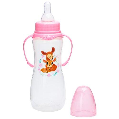 бутылочка для кормления люблю маму и папу 250 мл приталенная с руч цвет крас 2969835 Бутылочка для кормления Оленята: мамы и малыши 250 мл приталенная, с ручками 4644206