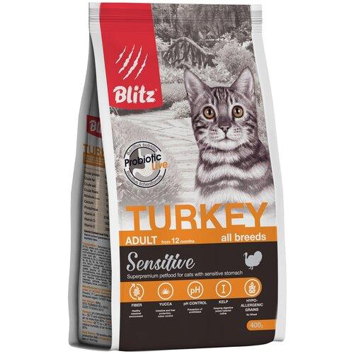 Сухой корм для кошек Blitz профилактика МКБ, для вывода шерсти, с курицей, с индейкой 400 г