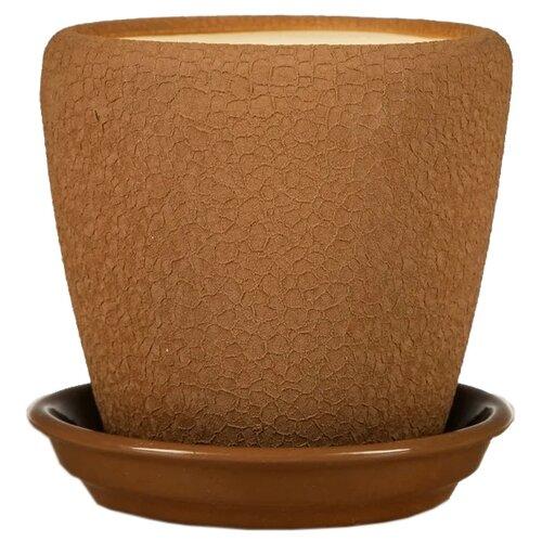 Горшок Ориана с поддоном Грация шёлк 14 х 14 см молочный шоколад по цене 3 109