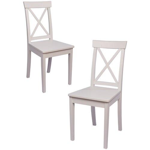 Комплект кухонных стульев (2 шт.), СтолБери, Марита, деревянный, эмаль белая, жесткая спинка