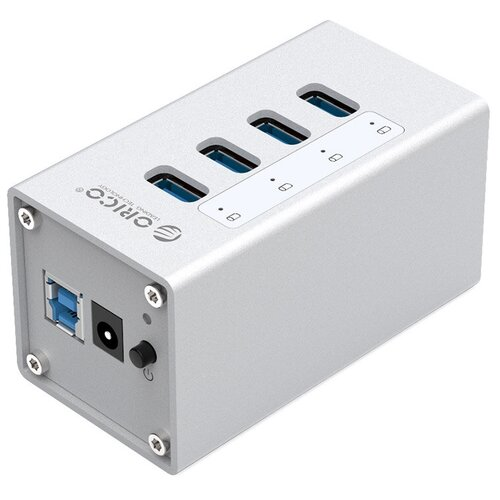 USB-концентратор ORICO A3H4, разъемов: 4, серебристый
