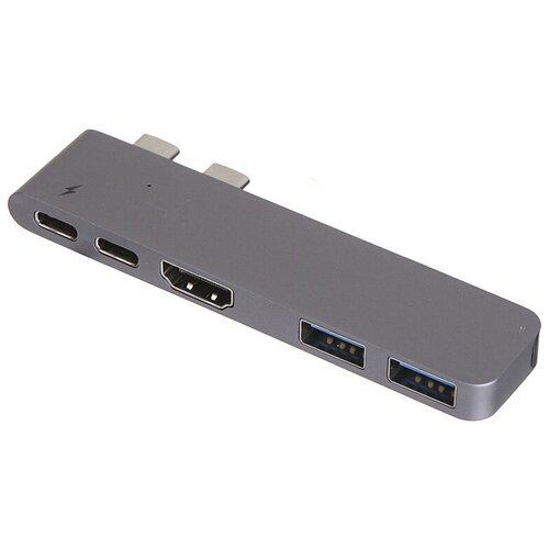 USB-концентратор Baseus Thunderbolt C+ (CAHUB), разъемов: 5, серый