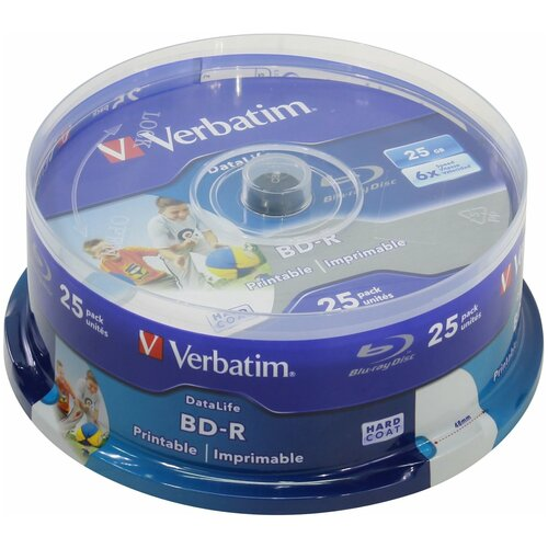 Фото - Диск BD-R Verbatim 25Gb 6x 25 шт. cake box диски bluray verbatim bd r 50gb 6x cakebox 10шт 43746