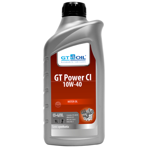 Полусинтетическое моторное масло GT OIL Power CI 10W-40 1 л недорого