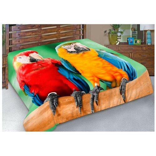 Покрывало Guten Morgen Попугаи Рио, 150 x 200 см, зеленый/красный/желтый