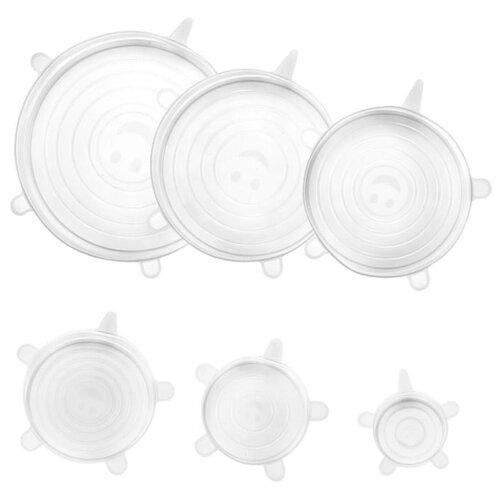 Набор силиконовых крышек 6 шт, белые, Kitchen Angel KA-LID-01 крышка kitchen angel ka lid 05 зеленый