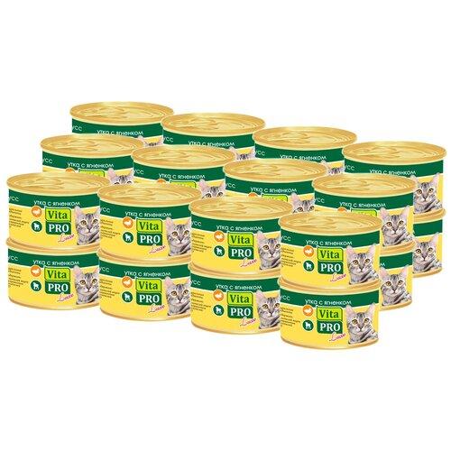 Влажный корм для кошек Vita PRO с ягненком, с уткой 24 шт. х 85 г (мусс)