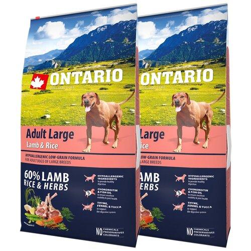 Сухой корм для собак Ontario ягненок, индейка 2 шт. х 12 кг (для крупных пород) сухой корм для собак barking heads ягненок 12 кг для крупных пород