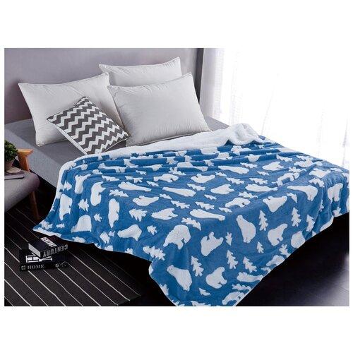 Плед Cleo Fluffy 200x220 см, белый/синий плед cleo fluffy 150x200 см белый синий