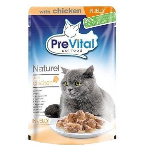 Влажный корм для кошек PreVital с курицей 85 г (кусочки в желе)