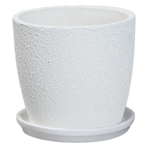 Горшок Керамика ручной работы с поддоном Осень шелк 10.5 х 10 см белый по цене 456