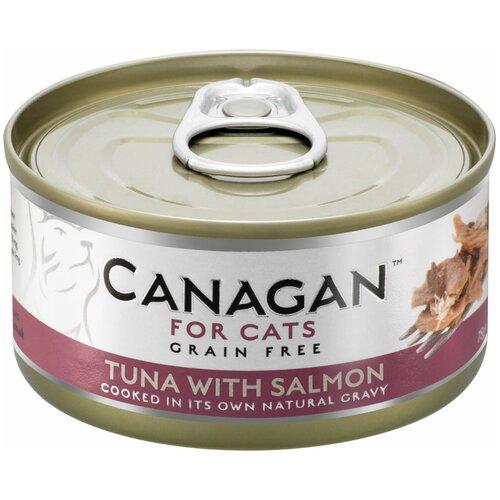 Влажный корм для кошек Canagan беззерновой, с тунцом, с лососем 75 г (кусочки в соусе)