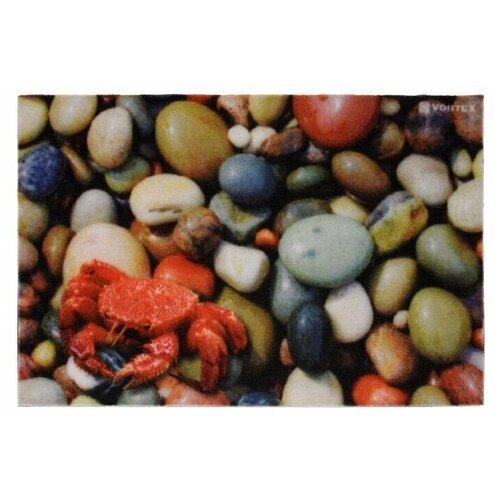 Придверный коврик VORTEX Samba Галька (22415), размер: 0.6х0.4 м, серый/красный